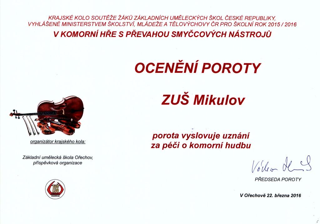 Diplom KH ZUŠ Mikulov